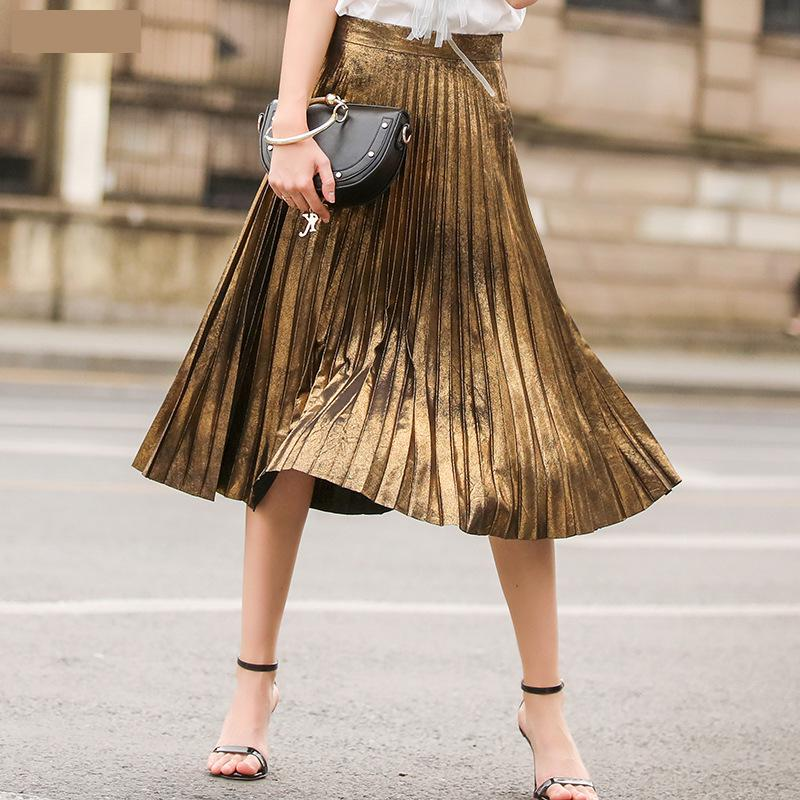 Just.be.never 2017 New Summer Waisted Skirt Slim Metal A-line Boho Skirt Mid-calf Pleated Skirt Empire Pleated Maxi Skirt