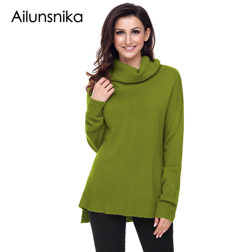 Ailunsinika 2018 New Arrival Autumn Winter Women Casual Army Green Causal Knit Long Sleeve High Cowl Neck Loose Sweater DL27795