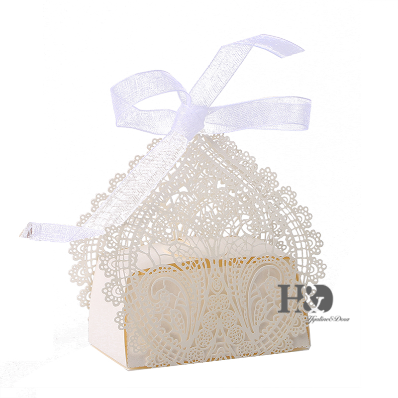 High Quality 120Pcs Flower Love Heart Laser Cut Favor Candy Box Bomboniere with Ribbons Bridal Shower Wedding Party Favors