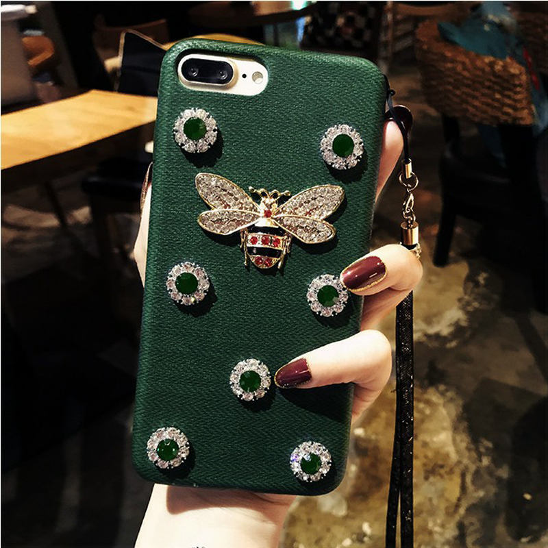 VBNM Son Uygulama iphone 7 case Deluxe Rhinestone Arı iPhone 6 vaka Elmas Geometrik Doku iPhone 8 X Deri Kılıf