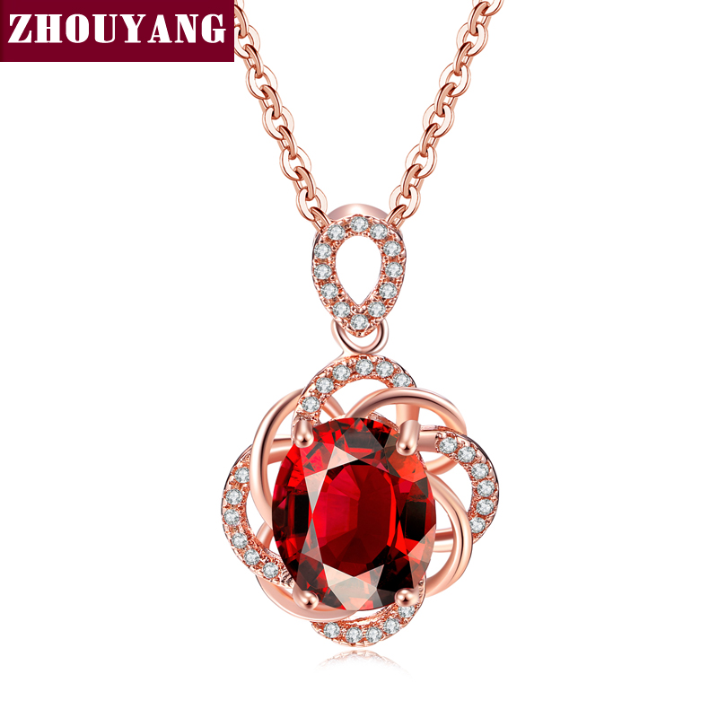 Simple Red Crystal Pendant Necklace Rose Gold Color Party Engagement Jewelry For Women Christmas Gift ZYN615 ZHOUYANG