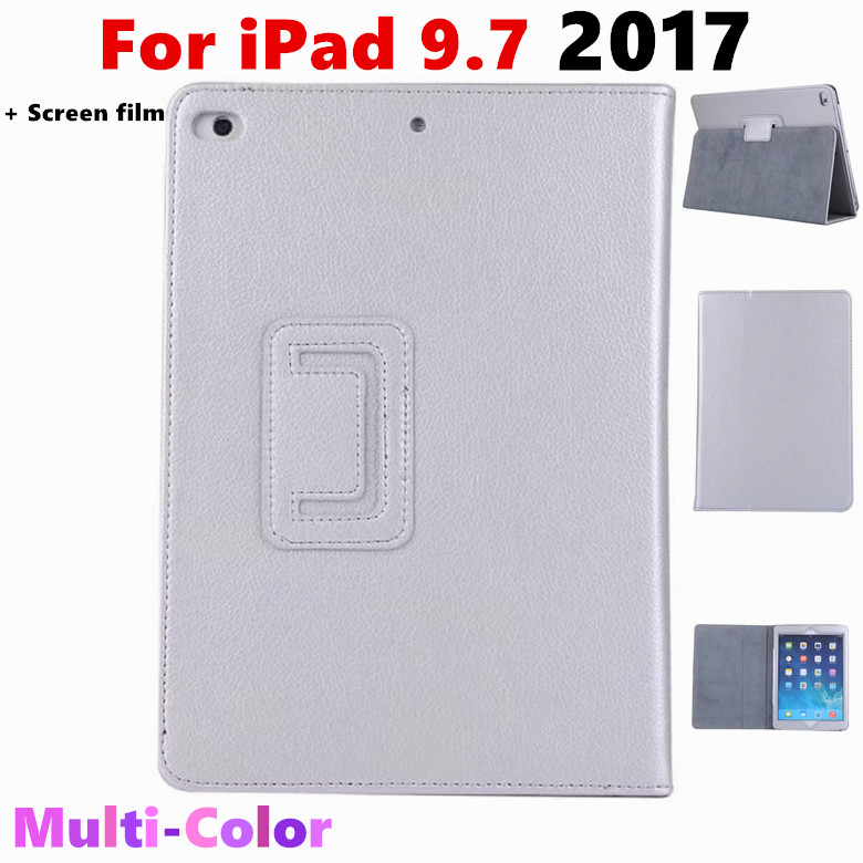 For iPad 9.7 2017 Litchi Grain Flip Cover PU Leather Case For Apple New iPad 2017 9.7 inch Tablet Case Protective shell +film