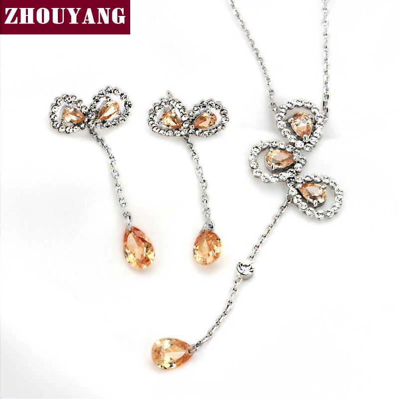 Top Quality Bow Silver Color Elegant Party Jewelry Necklace Earrings Set Made with Austrian Crystals Wholesale ZYS360